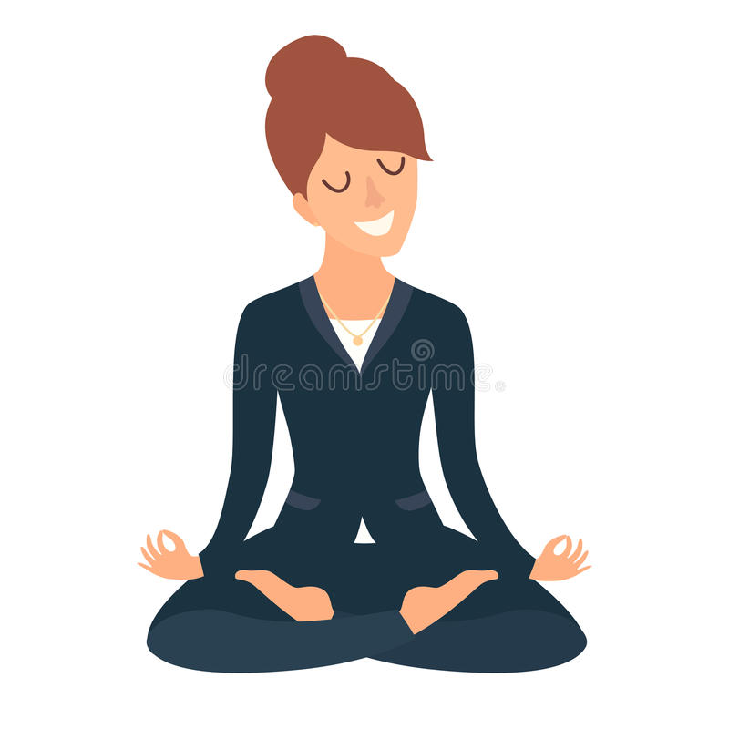 Business woman meditating. Concept of calm business, work at office. Happy worker. Business Woman in yoga pose, lotus position. Cartoon style vector royalty free illustration