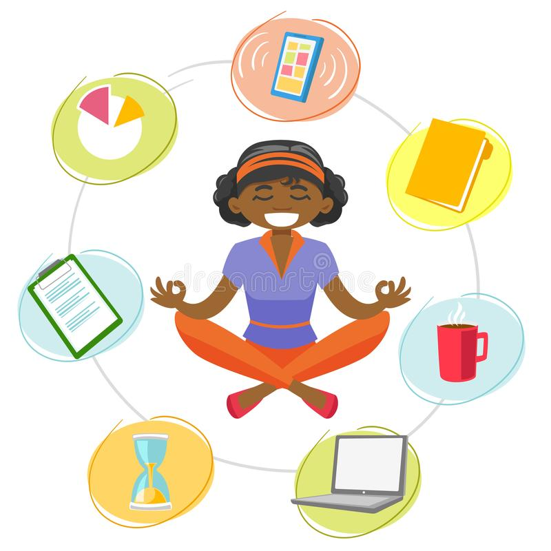 Download Business Woman Meditating In Yoga Lotus Position Stock Vector
