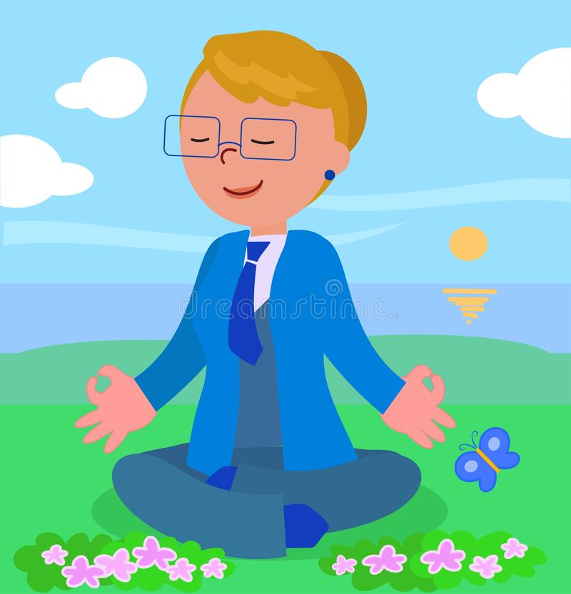 Business woman in meditation pose royalty free illustration