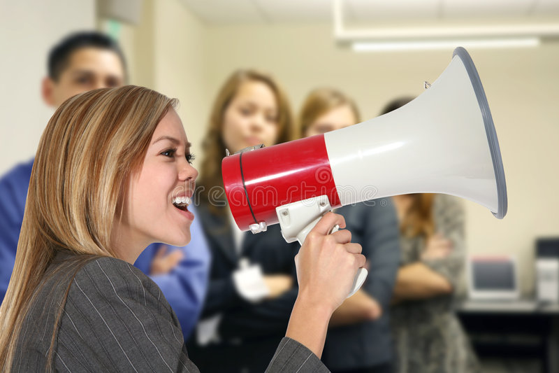Download Business Woman With Megaphone Stock Image - Image: 1879749