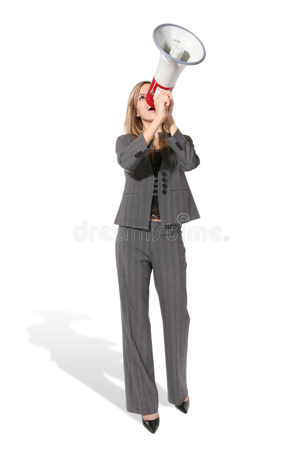 Business Woman with Megaphone. A business woman shouting into a megaphone royalty free stock images
