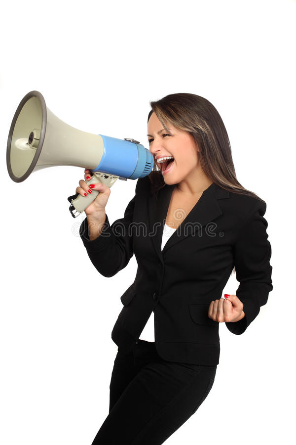 Business woman and megaphone. Business woman screaming with a megaphone and enjoys victory stock photos