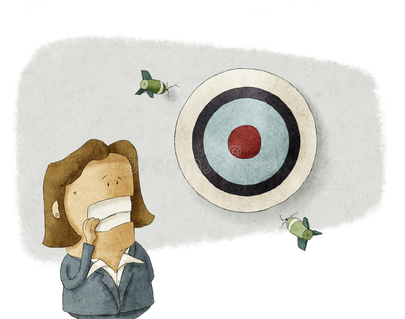 Business woman misses the target stock illustration