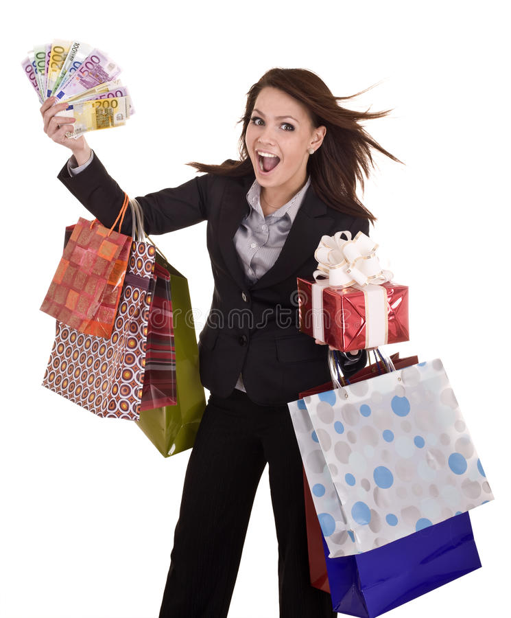 Download Business Woman With Money, Gift  Box And Bag. Stock Photo - Image: 10270626