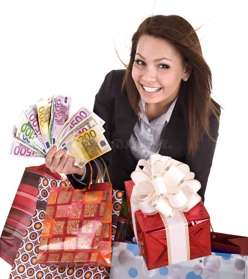 Download Business Woman With Money, Gift Box And Bag. Stock Image - Image: 11183781