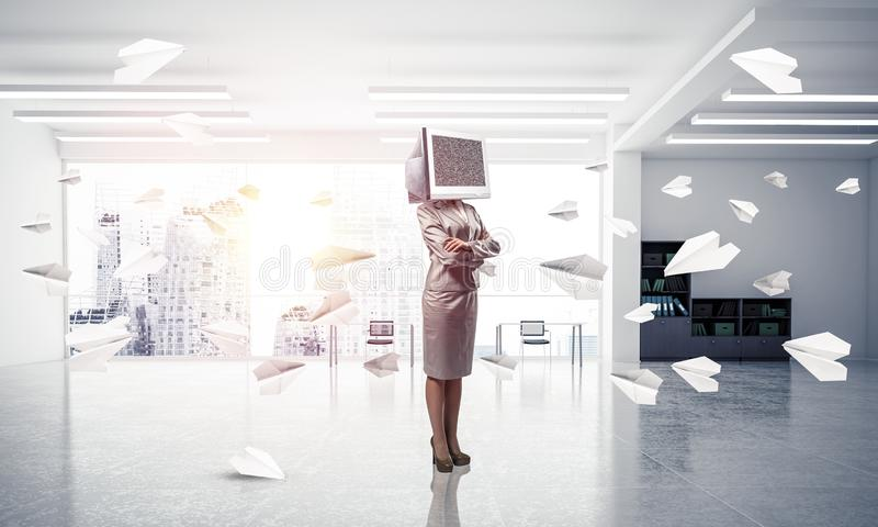 Business woman with monitor instead of head. stock images