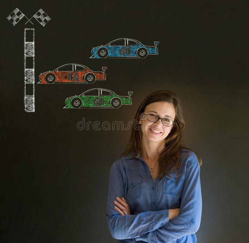 Business woman Nascar racing car fan arms folded on blackboard background royalty free stock images