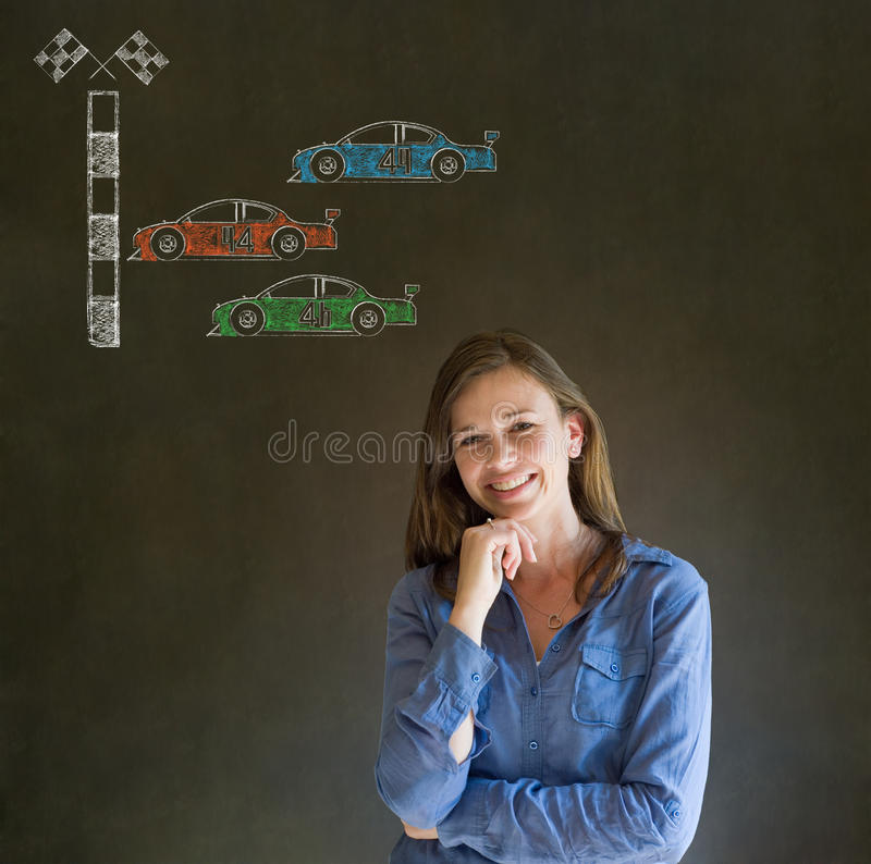 Business woman Nascar racing car fan hand on chin on blackboard background royalty free stock images