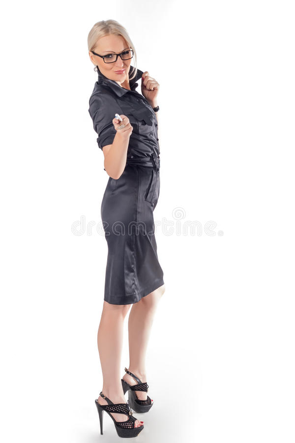 Business woman. We need you. Business woman whith pen in hend wearing glasses. We need you royalty free stock images