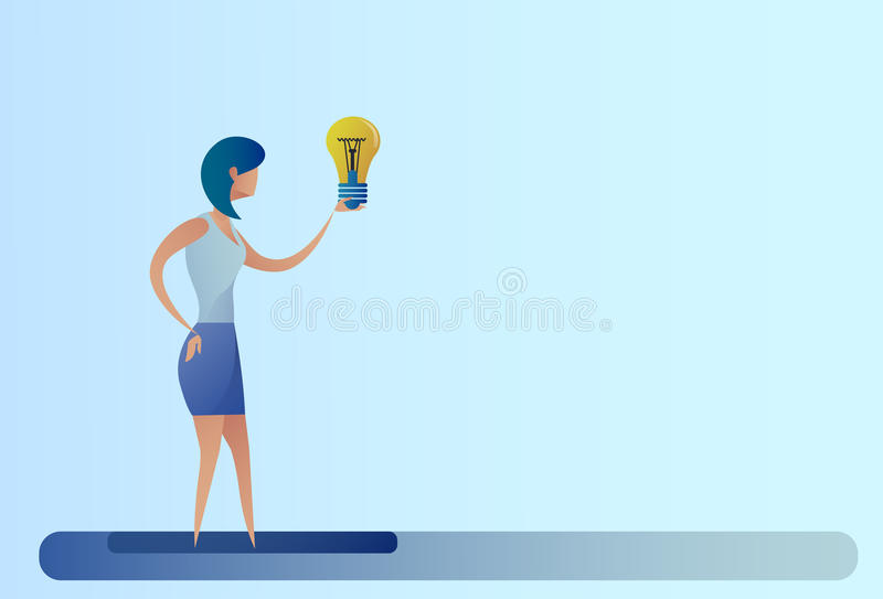 Business Woman New Creative Idea Concept Hold Light Bulb. Flat Vector Illustration stock illustration