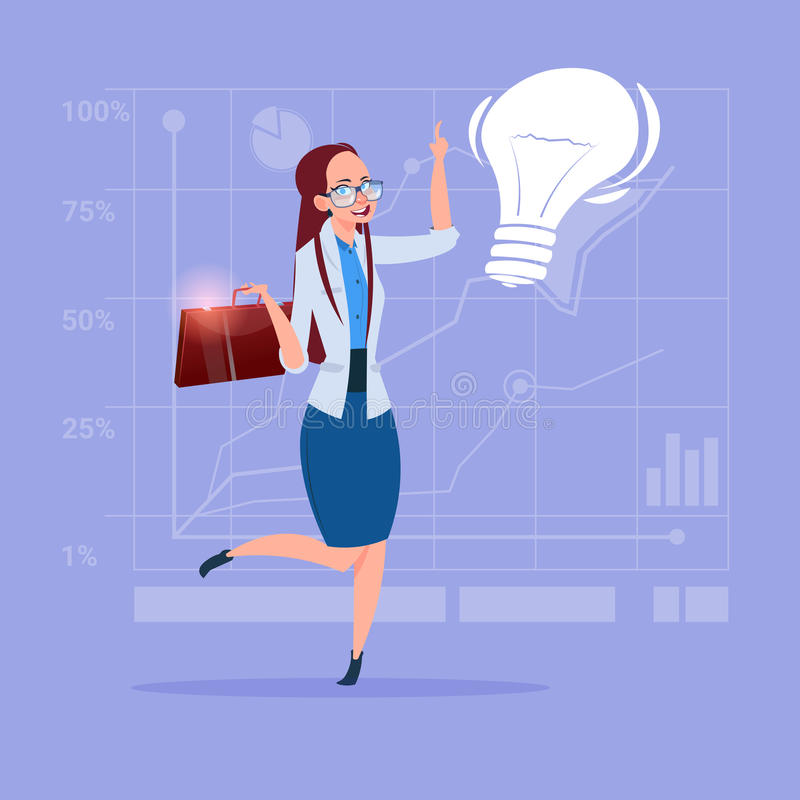 Business Woman New Creative Idea Concept With Light Bulb. Flat Vector Illustration stock illustration