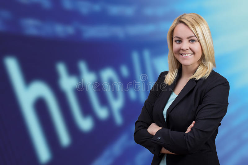 Business woman next to web browser background. Blonde business woman with crossed hands looking in to camera on blue web browser background stock image