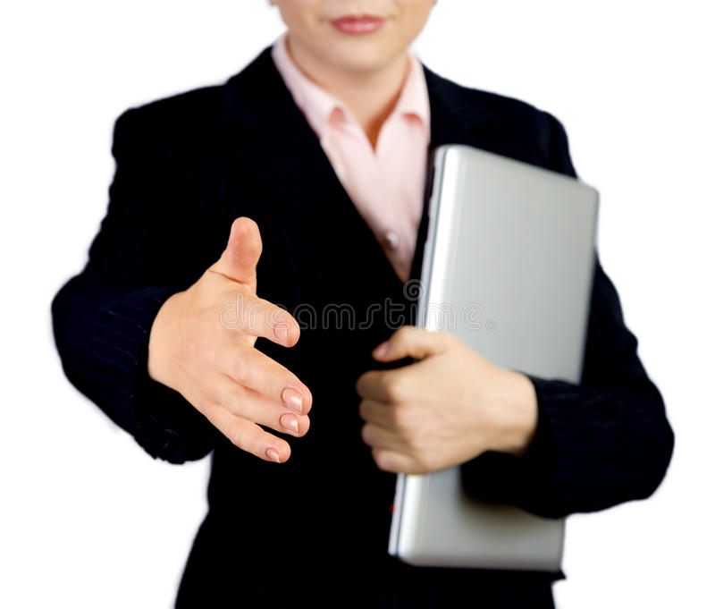 Download Business Woman With Notebook Offering Handshake To You Stock Photo - Image: 35220144