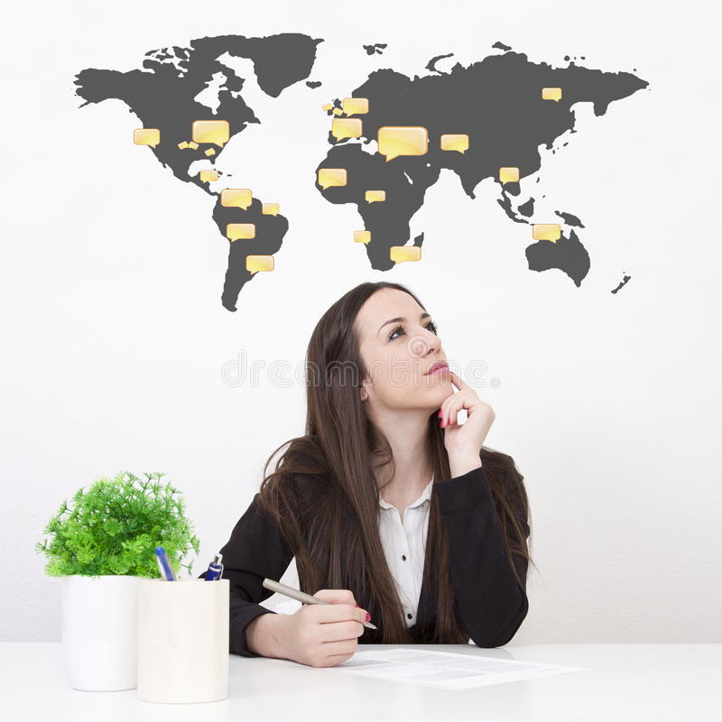 Business woman. In the office stock image
