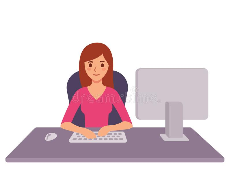 Business woman at office desk. Young business woman working at office desk, typing on computer keyboard. Modern flat cartoon style vector stock illustration vector illustration