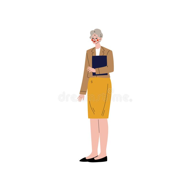 Business Woman, Office Employee, Entrepreneur or Manager Character Vector Illustration. On White Background royalty free illustration