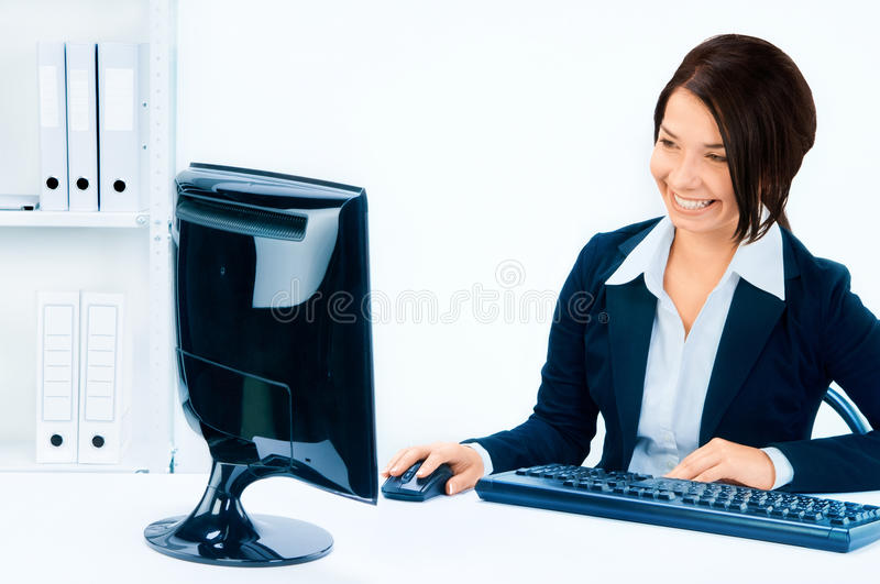Business woman in an office environment royalty free stock photo