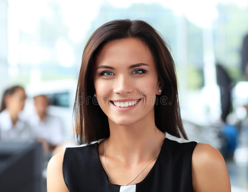 Business woman in the office stock photography