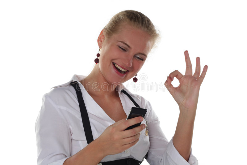 Business woman with ok gesture stock photo