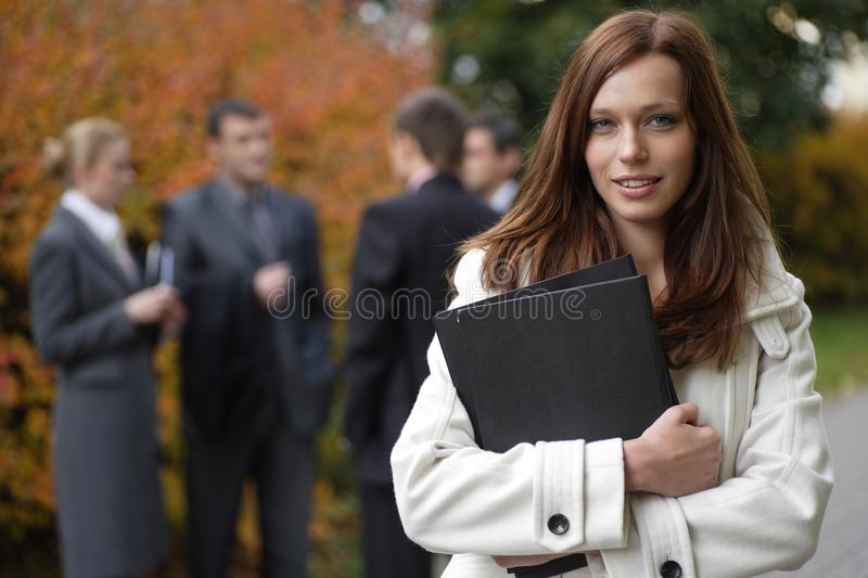 Business woman in an outdoor environment royalty free stock photo