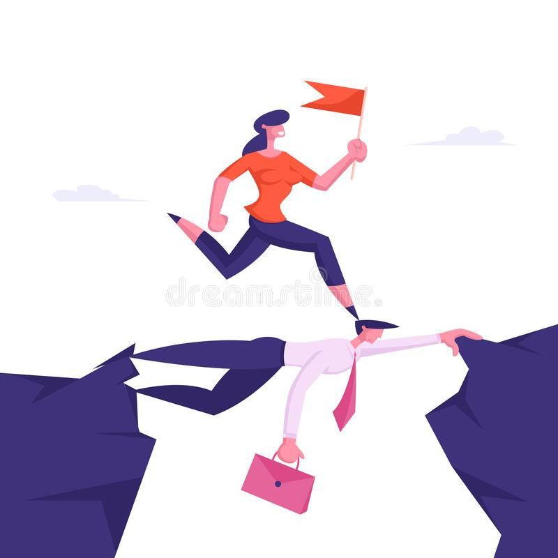 Business Woman Overcome Abyss by Back of Businessman Like Bridge. Businesswoman Careerist Walk on Head of Colleague. Race, Stop at Nothing Strongest Will vector illustration