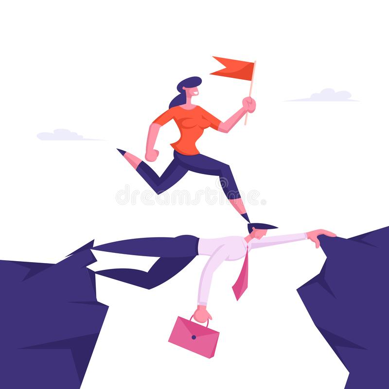 Business Woman Overcome Abyss by Back of Businessman Like Bridge. Businesswoman Careerist Walk on Head of Colleague. Race, Stop at Nothing Strongest Will stock illustration