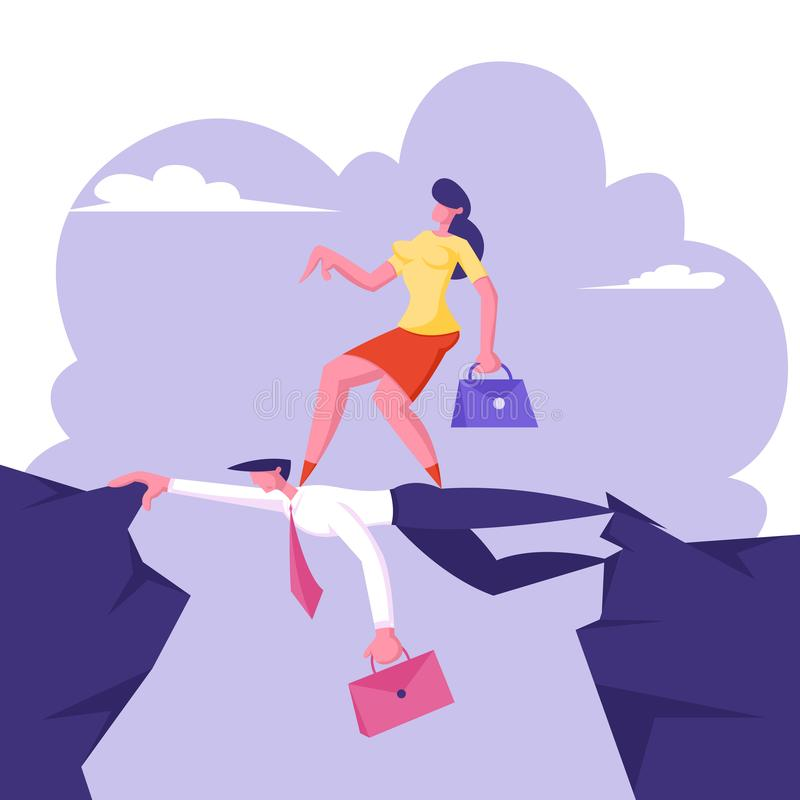 Business Woman Overcome Abyss Going by Back of Businessman like on Bridge, Challenge, Social Climber, Careerist Goal. Business Woman Overcome Abyss Going by Back vector illustration