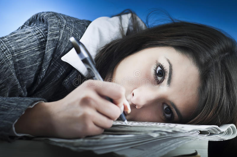 Download Business Woman Overwhelmed By Paper Work Stock Image - Image of female, deadlines: 22345059