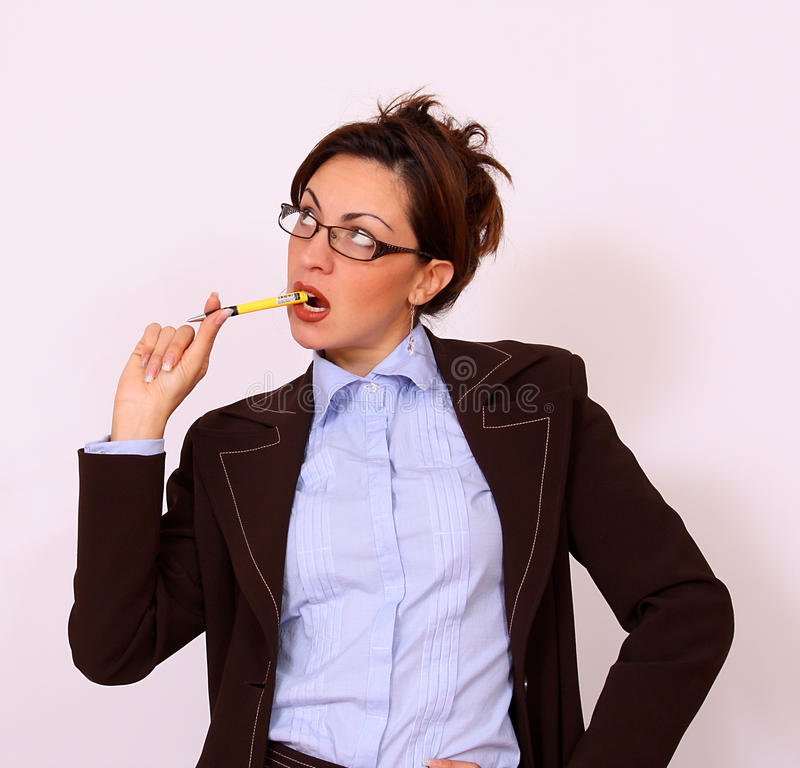 Business woman with the pen stock photos