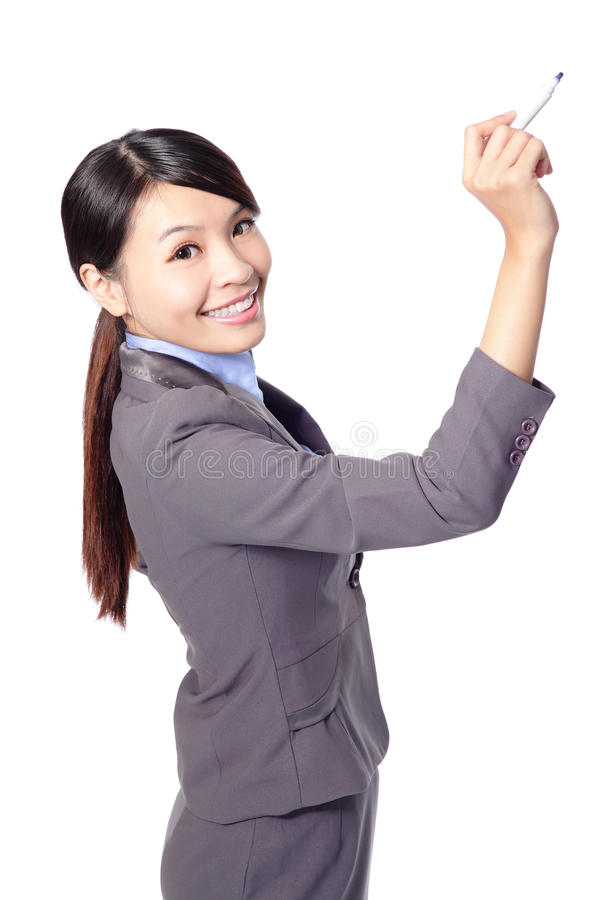 Download Business Woman With Pen Writing Stock Photo - Image of chinese, meeting: 28427452