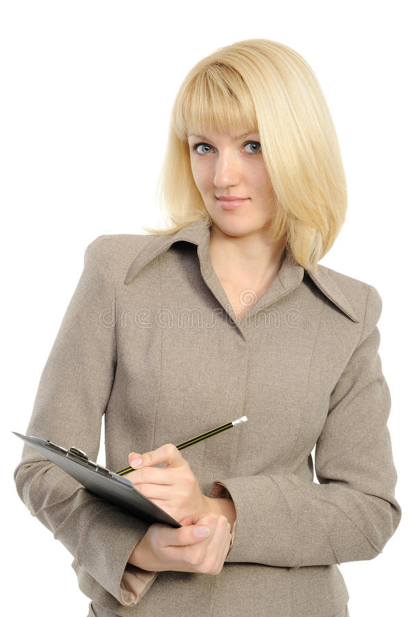 The business woman with a pencil and a folder stock images
