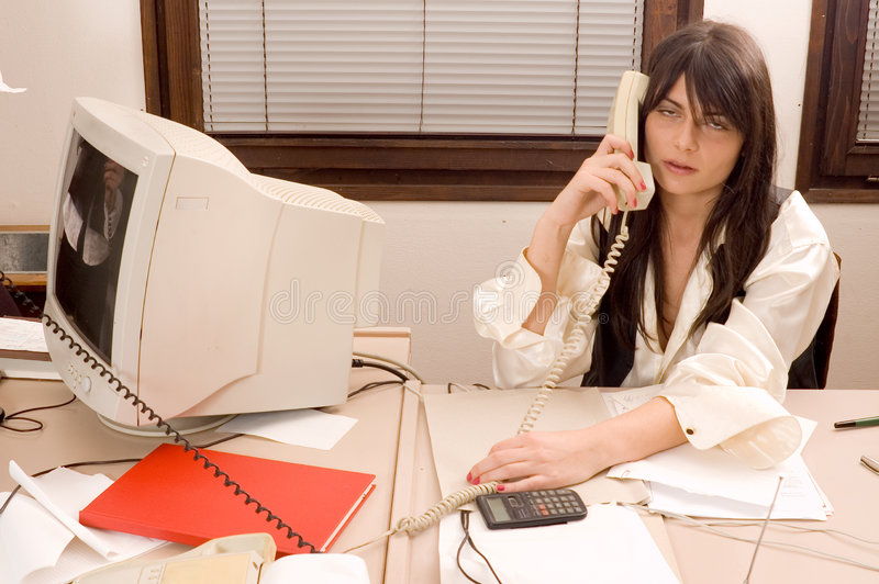 Business woman and phone stock image