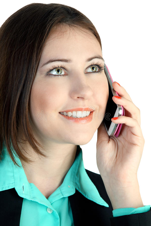 Business woman with phone royalty free stock photo