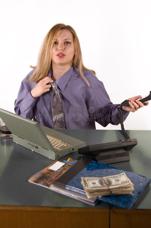 Business woman with phone and money stock photography