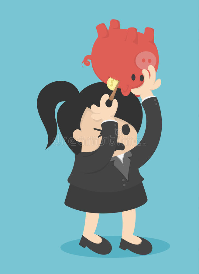 Business Woman Picking Coin in Piggy bank illustration. Eps.10 stock illustration