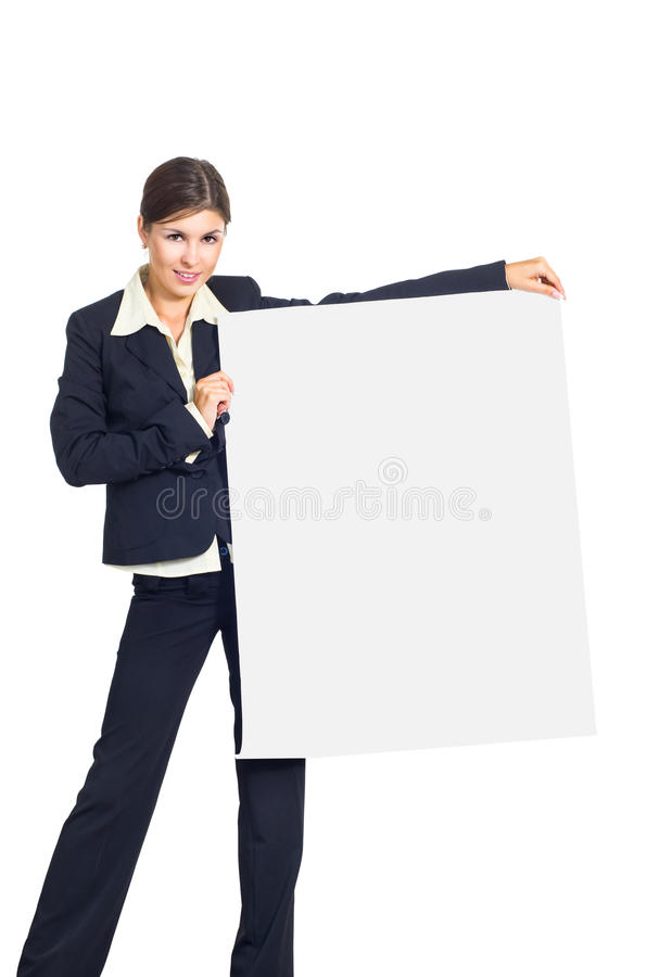 Download Business Woman With A Placard Stock Photo - Image: 26196402