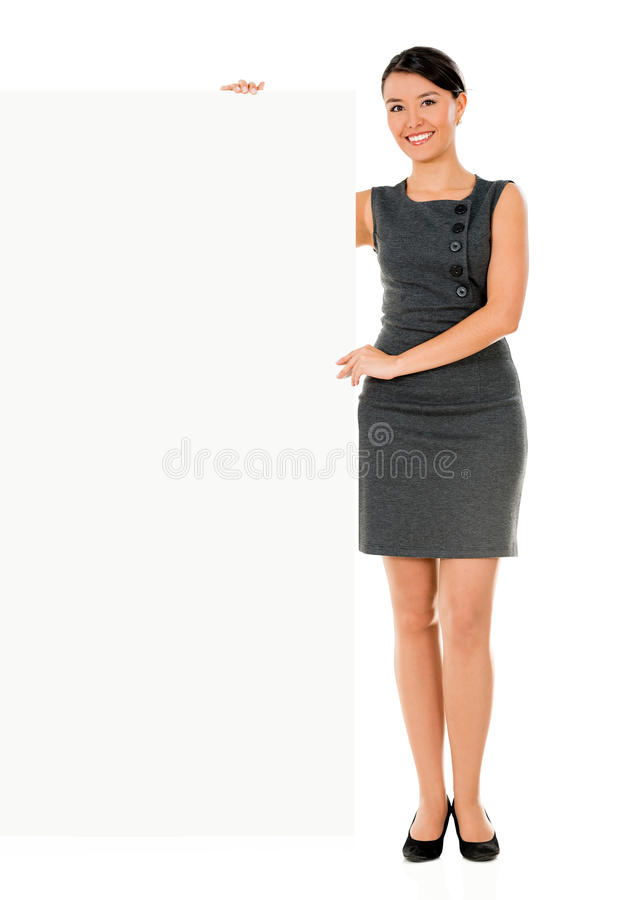 Download Business Woman With A Placard Stock Photo - Image: 33527086