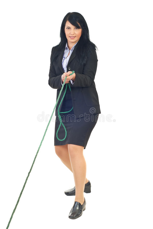 Business woman play tug of war