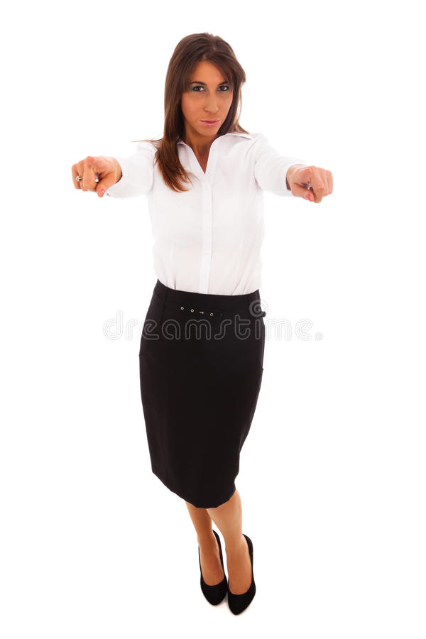 Business woman pointing royalty free stock photo