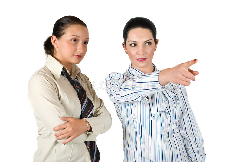 Download Business woman pointing stock image. Image of cute, brunette - 9175843