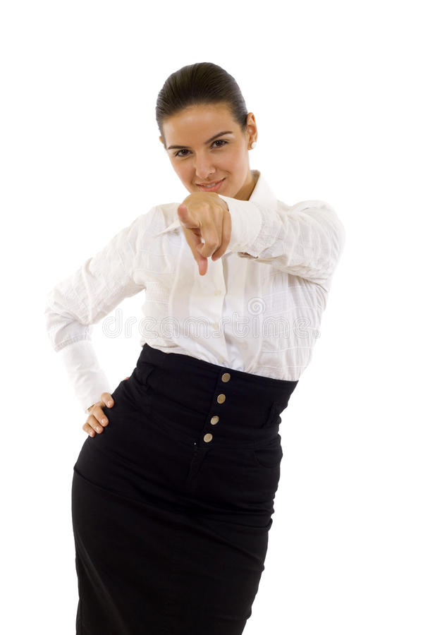 Download Business Woman Pointing At Camera Stock Image - Image: 11192761