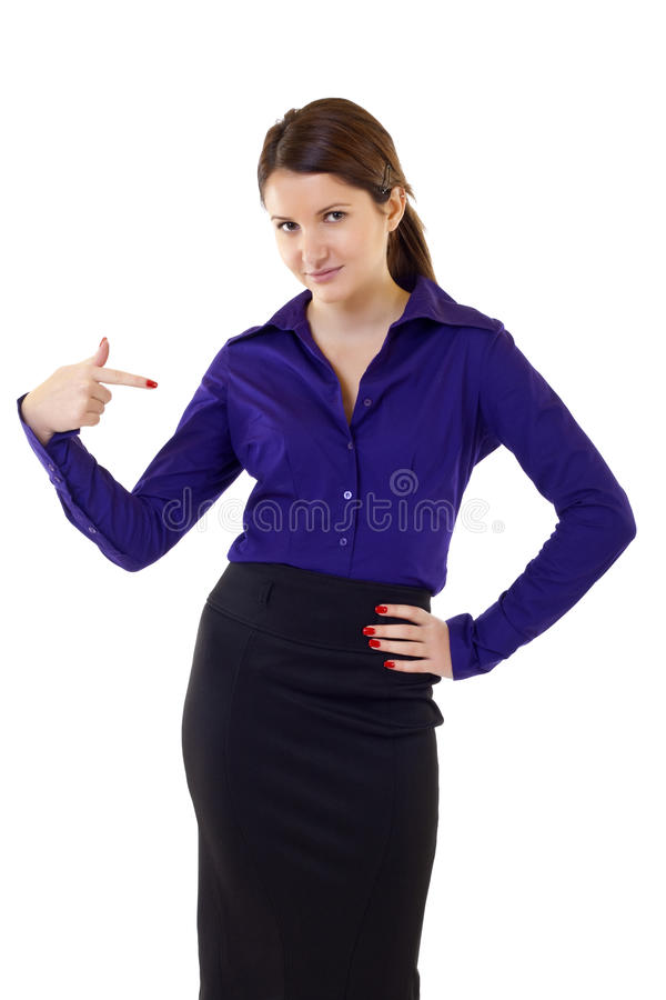 Business woman pointing at herself stock photos