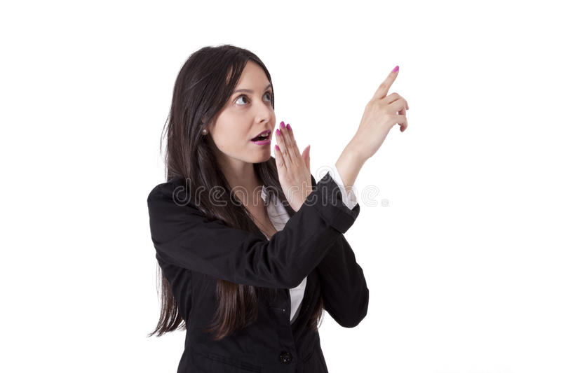 Business woman pointing royalty free stock images