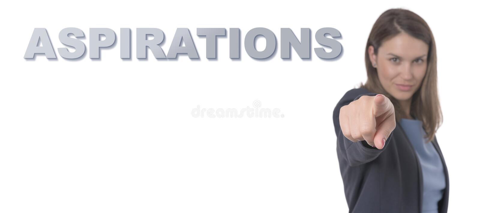 Business Woman pointing the text ASPIRATIONS. Business Concept stock photography