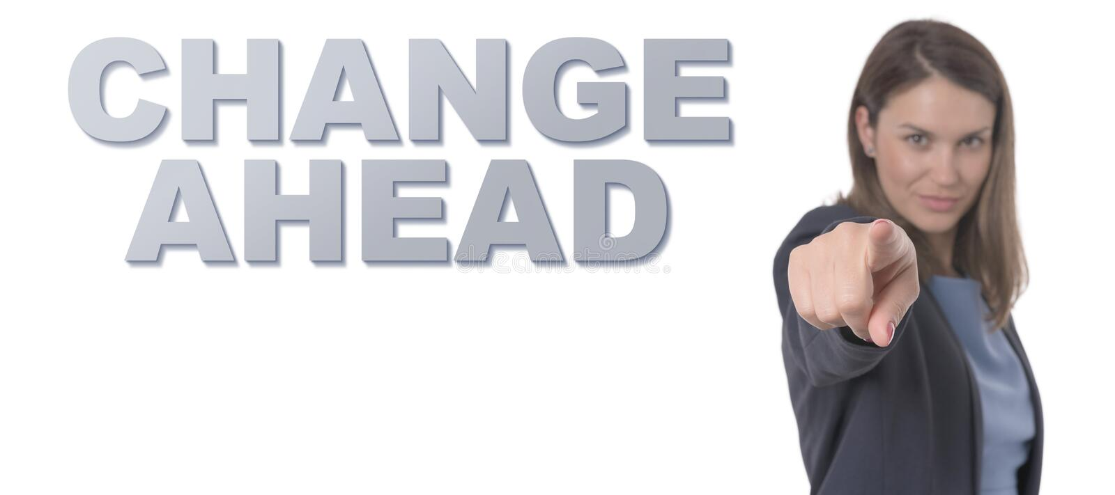 Business Woman pointing the text CHANGE AHEAD stock images