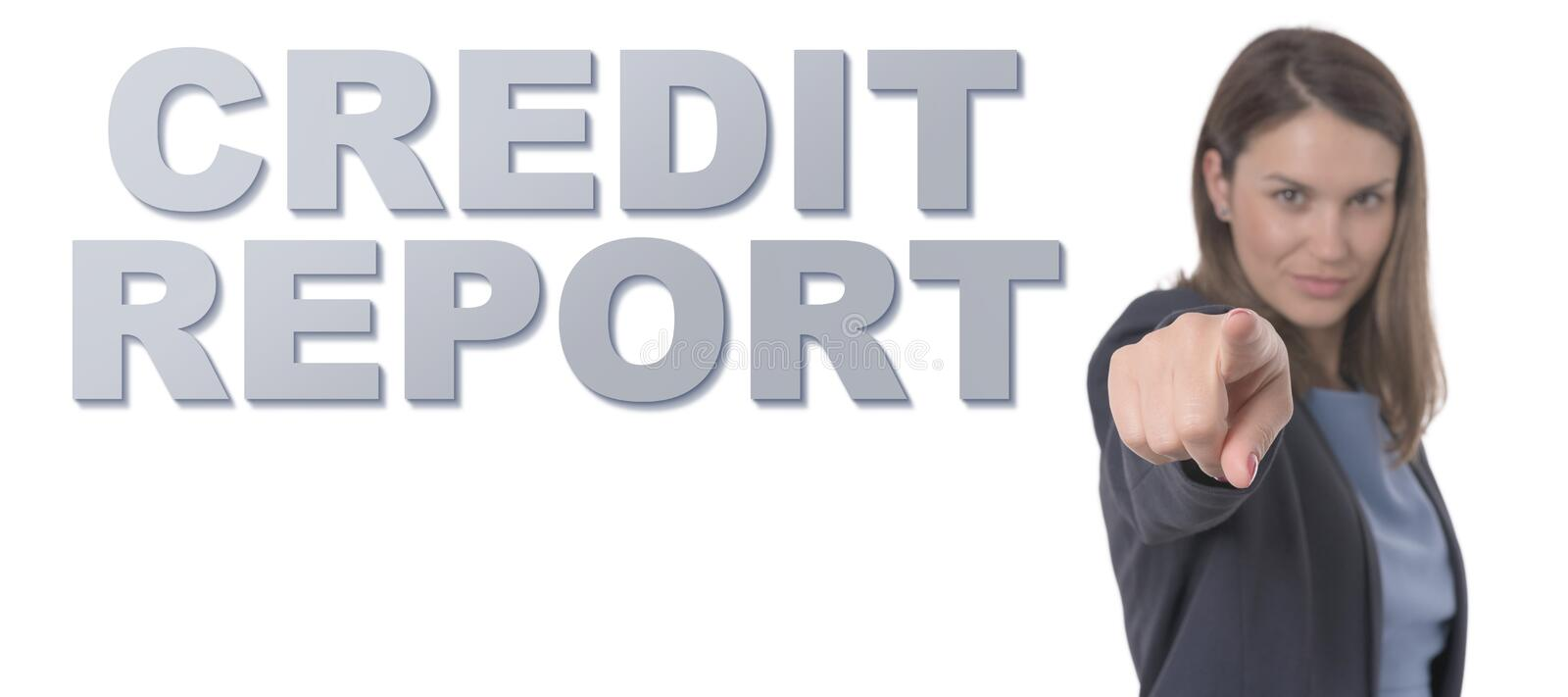 Business Woman pointing the text CREDIT REPORT stock image