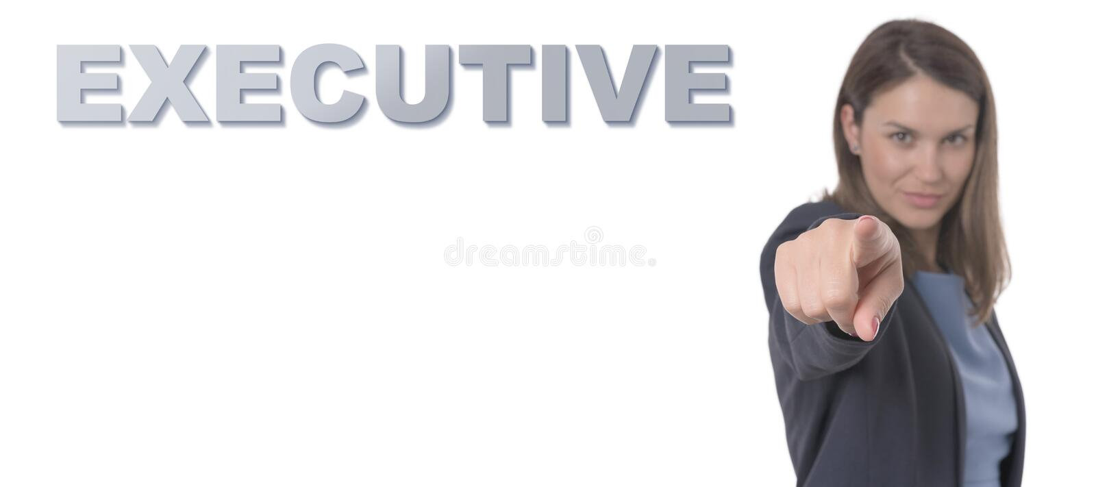 Business Woman pointing the text EXECUTIVE CONCEPT. Business Concept stock photography