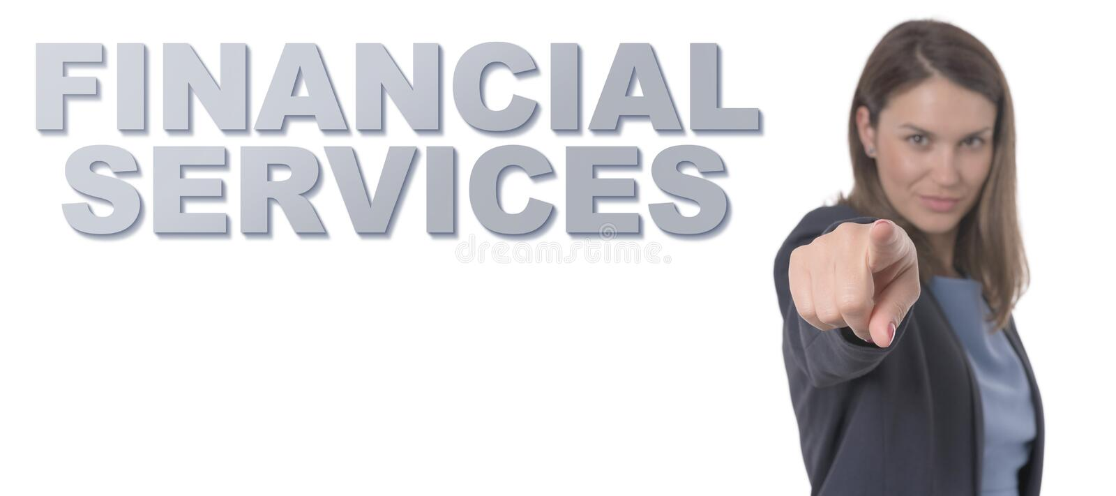 Business Woman pointing the text FINANCIAL SERVICES CONCEPT stock photography