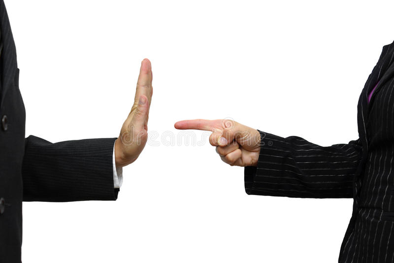 Business woman pointing to coworker. He refuses task royalty free stock photography