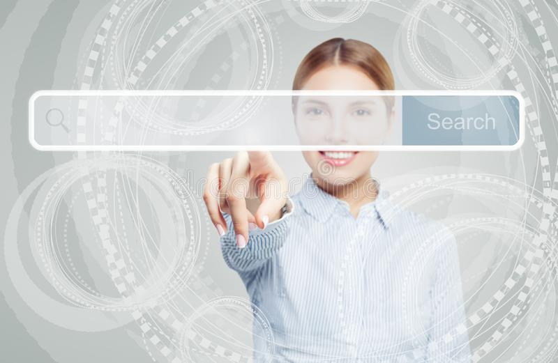Business woman pointing to empty address bar in virtual web browser. Seo, internet marketing, distance learning and advertising. Marketing concept royalty free stock photos